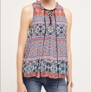 Anthro HD Paris Lace Up Sleeveless Blouse Boho